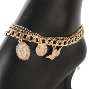 Gold Chain Religious Pendant Layered Anklet Metal